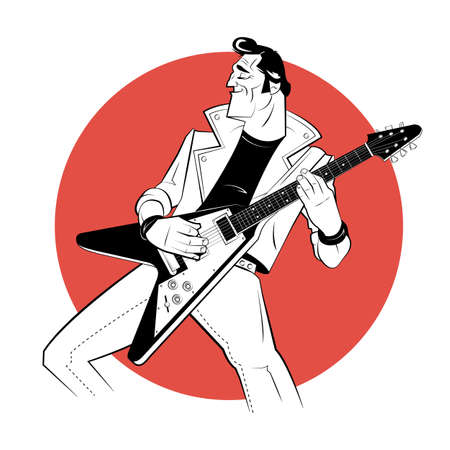 Rocker with electric guitar in sketch style on red background. Vector illustration. Vetores