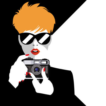 Pop Art illustration of fashion woman with Foto Camera. Vintage Advertising Poster. Vector illustration