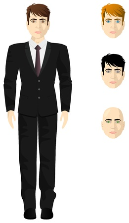 proportional: Male businessman in a white shirt and black suit, thickness proportional body, the different colors of eyes and hair Illustration