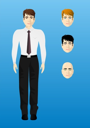 proportional: Male businessman in a white shirt, thickness proportional body, the different colors of eyes and hair