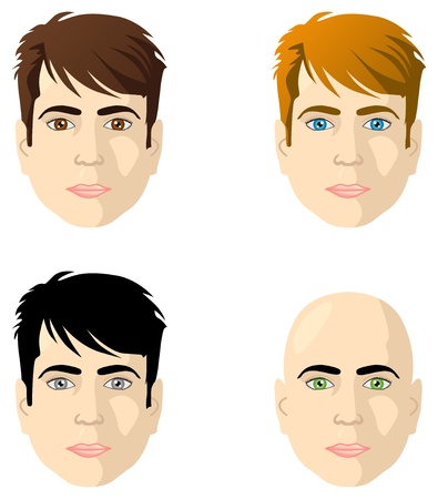 Men faces different color eyes and hair