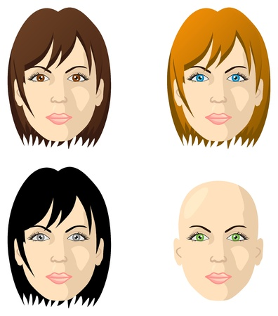 the faces: Women faces different color eyes and hair