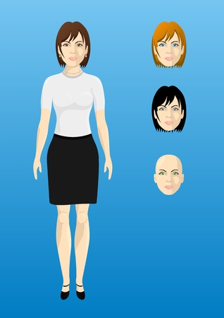 girl shirt: Female businesswoman in a white shirt, thickness proportional body, the different colors of eyes and hair