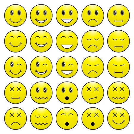 Pack of faces (emoticons) with various emotions expression Stock Illustratie