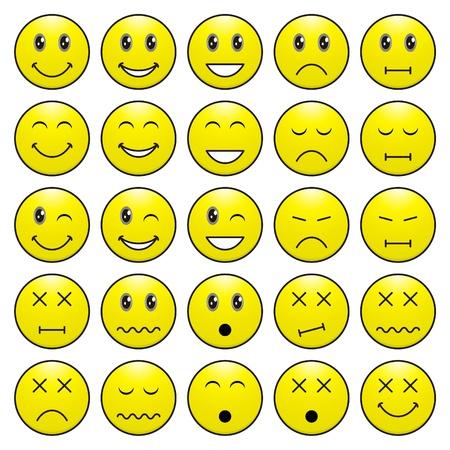 smiley: Pak van gezichten (emoticons) met verschillende emoties uitdrukking Stock Illustratie