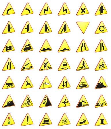 limit: Road signs 3d rendering pack (warning signs) Stock Photo