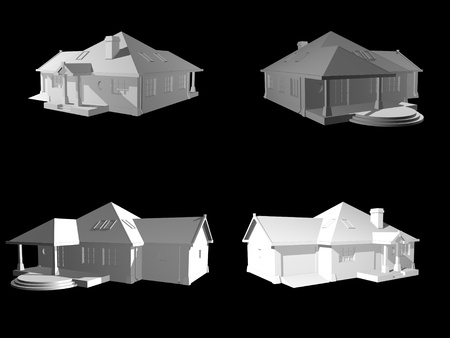 3d house isolated on black, 3d project