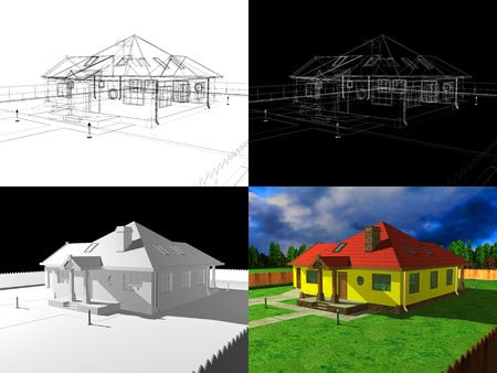 3D house rendering, 3d project photo