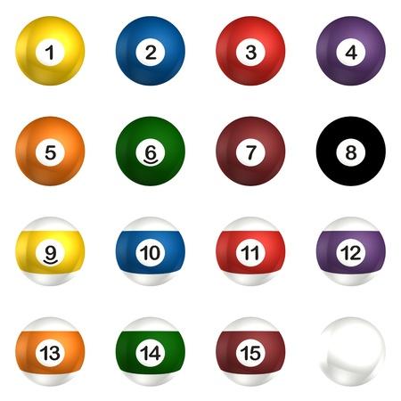 Billard balls pack 3d rendering isolated on white photo