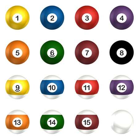 Billard balls pack 3d rendering isolated on white