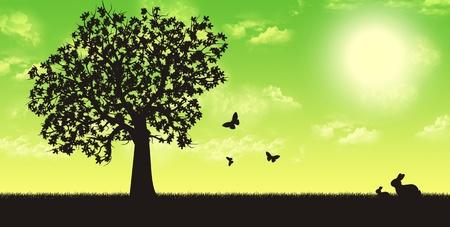 Four seasons render illustration - spring Stock Illustration - 10034698