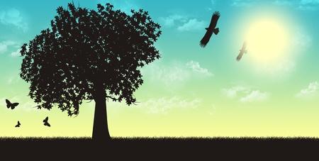 Four seasons render illustration - summer Stock Photo