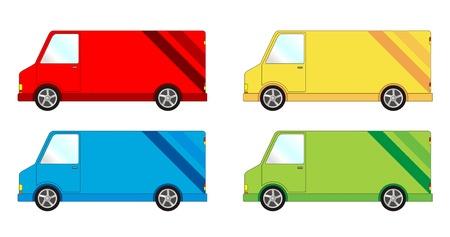 Vehicle pack - delivery van Stock Illustratie