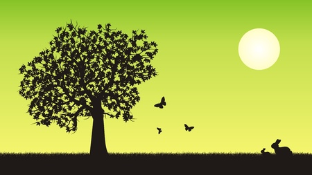 Four seasons vector illustration - spring Vector