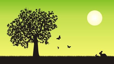 4 star: Four seasons vector illustration - spring Illustration