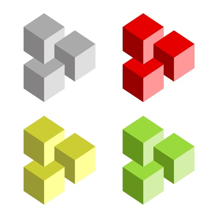 seem: Optical illusion vector illustration on white background