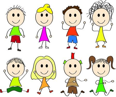 Vector illustration of happy kids