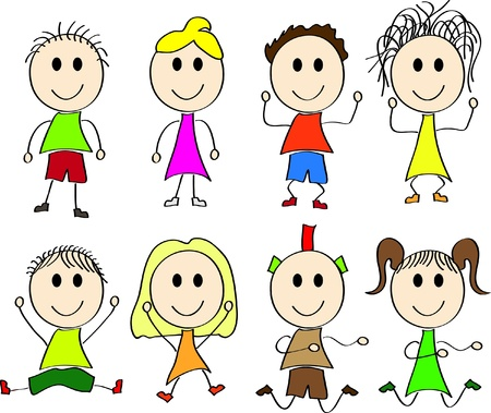 Vector illustration of happy kids Vector