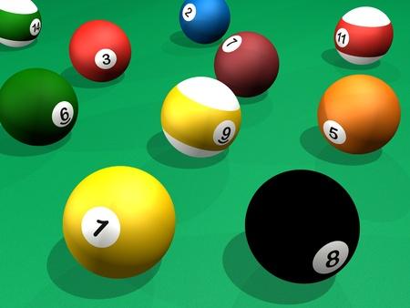 Billard balls pack 3d rendering pool Stock Photo
