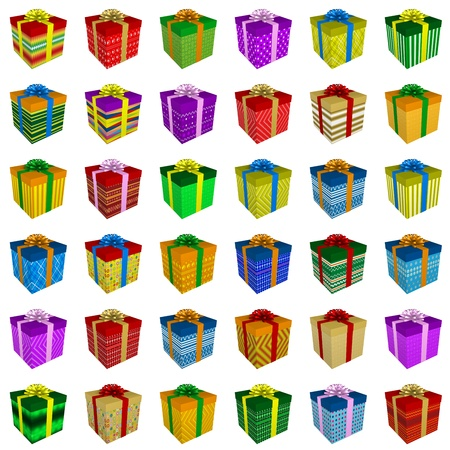 Many colorful gift boxes collection with ribbon isolated on white background