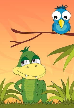 Crocodile and the bird in the jungle vector book illustration Vector
