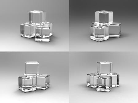 Ice cubes on studio table