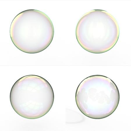bulles de savon: Les bulles de savon isol� sur fond blanc