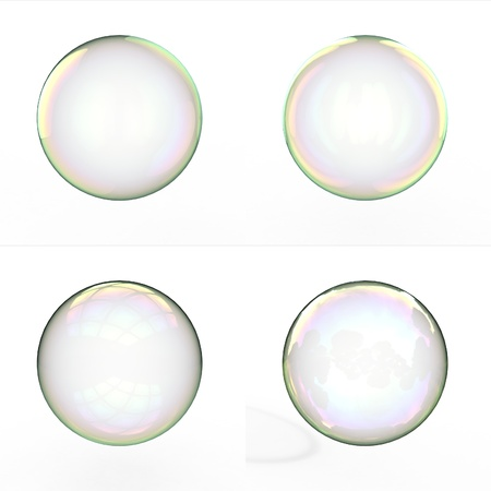 Soap bubbles isolated on white background photo