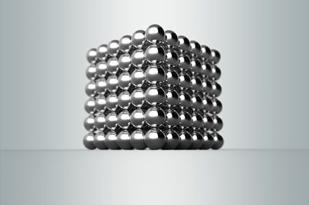Cube from magnetic metal balls with Depth Of Field