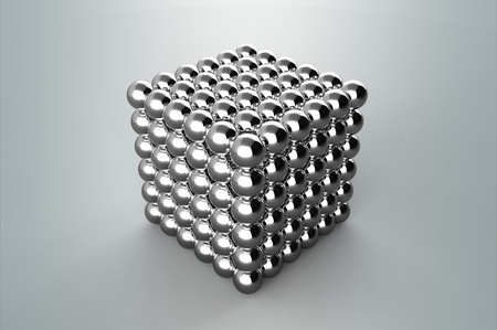 Cube from magnetic metal balls without Depth Of Field