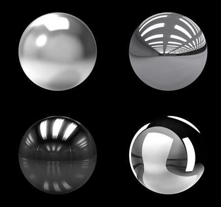 Chrome balls group on black background
