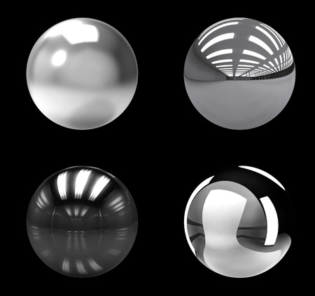 Chrome balls group on black background