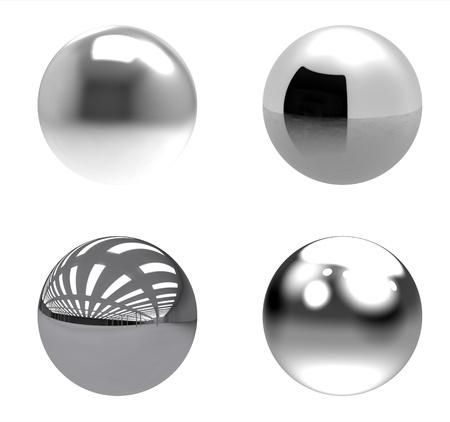 Chrome balls group on white background photo