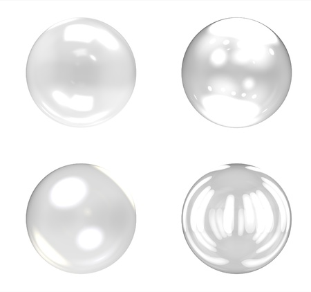 Glass balls group on white background