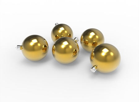 Christmas gold mirror baubles pack Stock Photo - 11027117