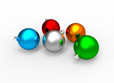 x mas: Christmas colorful mat baubles pack on white background