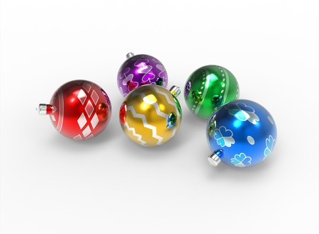 group of christmas baubles: Christmas colorful mirror baubles pack with different pattern on white background