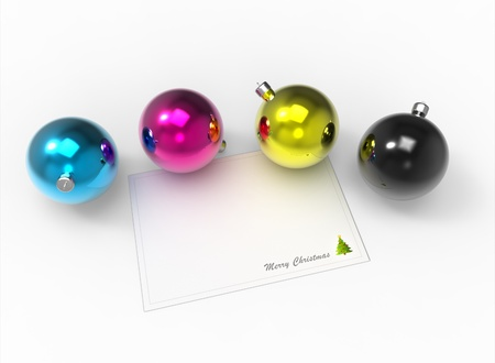 Christmas CMYK color baubles pack and white christmas card for the wishes Stock Photo - 11027127