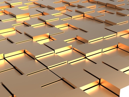 organization design: Abstract background - gold shiny different cubes Stock Photo