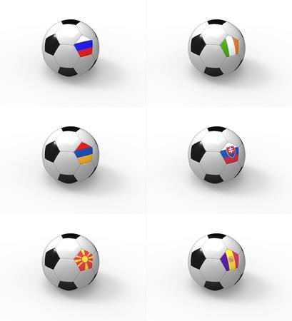 b ball: Euro 2012, soccer ball with flag - Group B - Russia, Ireland, Armenia, Slovakia, Macedonia, Andorra Stock Photo