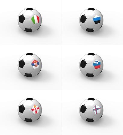 Euro 2012, soccer ball with flag - Group C - Italy, Estonia, Serbia, Slovenia, Northern Ireland, Faroe Islands photo