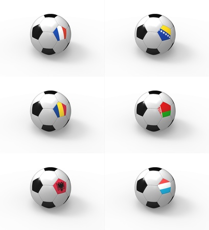 Euro 2012, soccer ball with flag - Group D - France, Bosnia and Herzegovina, Romania, Belarus, Albania, Luxembourg photo