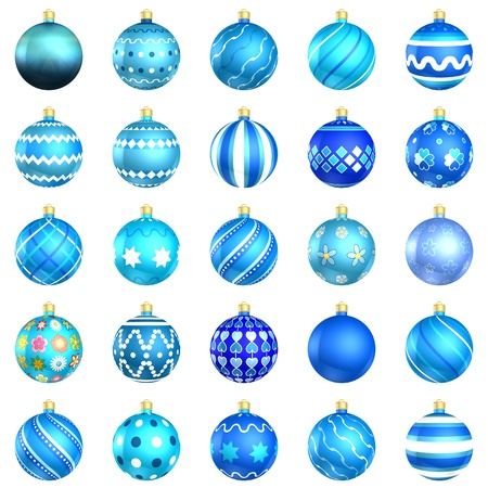 xmax: Christmas baubles big blue pack 25 on white background