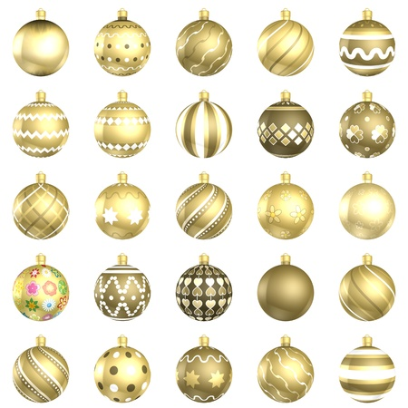 xmax: Christmas baubles big gold pack 25 on white background