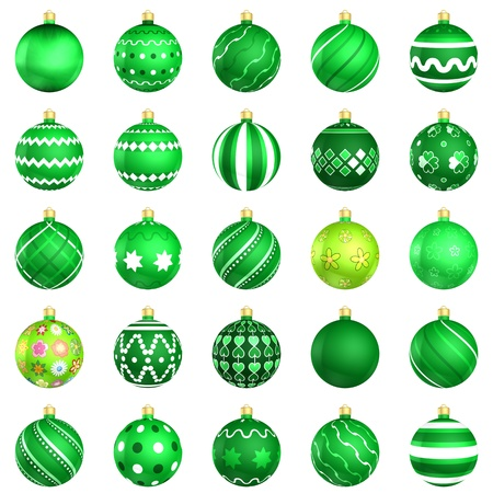xmax: Christmas baubles big green pack 25 on white background