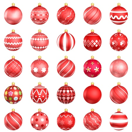 Christmas baubles red big pack 25 on white background
