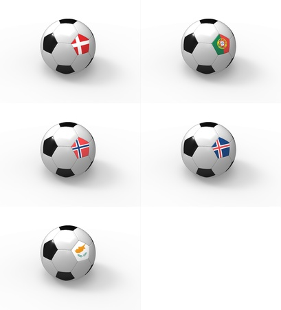 Euro 2012, soccer ball with flag - Group H - Denmark, Portugal, Norway, Iceland, Cyprus photo