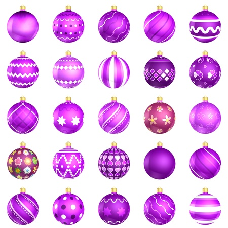 xmax: Christmas baubles big violet pack 25 on white background