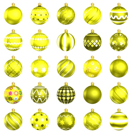xmax: Christmas baubles big yellow pack 25 on white background