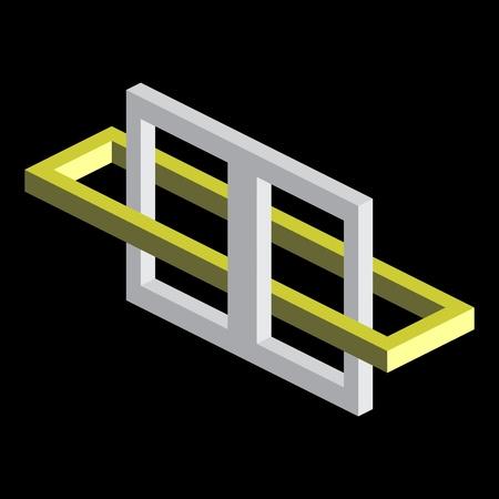 perceive: Illusione ottica, blocchi colorati vettore Vettoriali